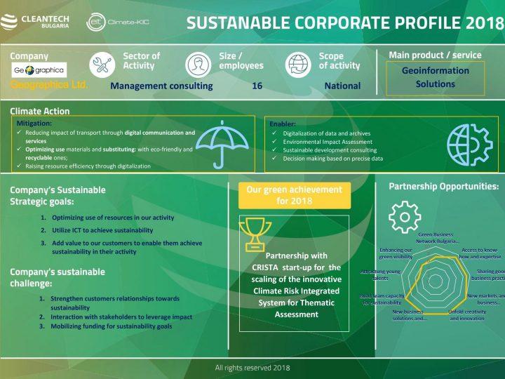 "Корпоративeн профил за устойчивост на ""Географика"" ООД за 2018 г."